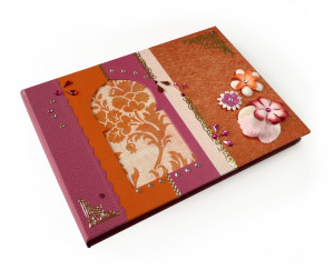 Livre d'or Bollywood fuchsia et orange