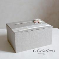 Urne, boite pour dons invités { Vintage polka } en lin, dentelle et satin