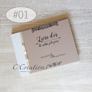 Livre d'or mariage { Kraft } coloris brun et ivoire