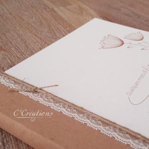 Livre d'or mariage { Quelques mots d'amour } personnalisable, coloris kraft, dentelle et graphisme