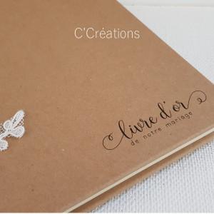 Livre d'or mariage { Calais & Kraft } coloris ivoire et kraft, personnalisable