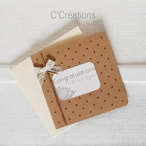 Carte Félicitations mariage { Quelques mots d'amour} coloris kraft et ivoire avec son enveloppe