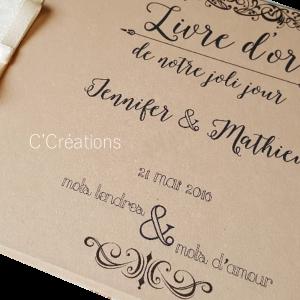 Personnalisation par ajout des prénoms / date mariage / texte court sur livre d'or