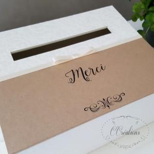 Urne, boite pour dons invités { Kraft } en papier kraft, satin