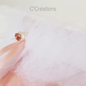 Coussin alliances mariage { Camyla } satin duchesse, tulle et cristal