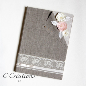 Livre d'or mariage { Vintage Polka } en toile de lin, dentelle et fleurs de satin artisanales