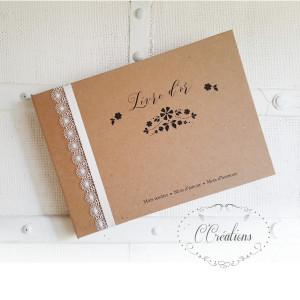 Livre d'or mariage { Flower Kraft } coloris brun et ivoire