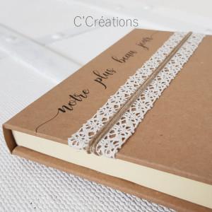Livre d'or mariage { Beau jour } coloris kraft et dentelle ivoire
