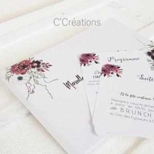 Livre d'or mariage { Boho } aquarelle bouquet de fleurs  coloris blanc et bordeaux