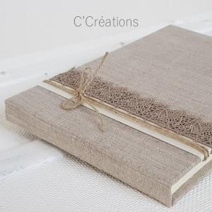 Livre d'or mariage { Foglio } toile de lin, dentelle et satin
