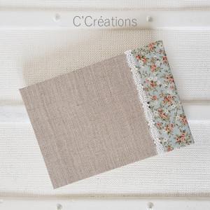 Livre d'or mariage { Something Blue } toile de lin, dentelle et coton fleuri bleu