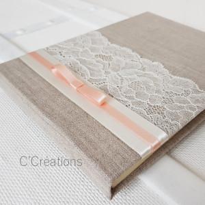 Livre d'or { Lin & Dentelle } pour mariage ou baptême, coloris ivoire et rose poudré