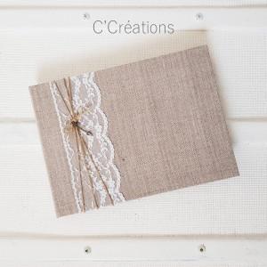 Livre d'or mariage { Cupidon } toile de lin et dentelle