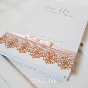 Livre d'or mariage personnalisable { Jour de Bonheur } coloris brun kraft, rose poudré et ivoire