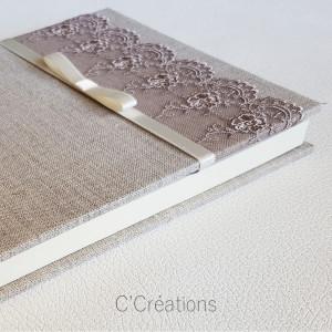 Livre d'or mariage { Bonheur } toile de lin, dentelle et satin