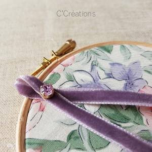 Porte-alliances Tambour { Joséphine } coton fleuri , ruban de velours et cristal
