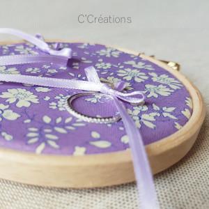 Porte-alliances Tambour { Lilas } coton fleuri et ruban de satin