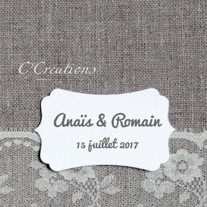 Personnalisation par ajout étiquette : prénoms et/ou date mariage