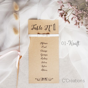 Fiche { Kraft } pour plan de table jour J de votre mariage, baptême ou anniversaire